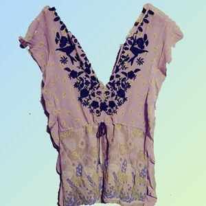 Free People Embroidered Tunic Boho Dress